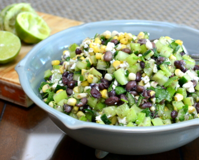 Black Bean & Corn Salad, another easy summer salad ♥ AVeggieVenture.com. Great for Meal Prep. Weight Watchers Friendly. Low Carb. Easily Whole30 Friendly. Vegetarian & Easily Vegan.