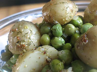 Warm Baby Potato and Pea Salad