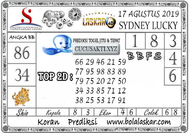 Prediksi Togel Sydney Lucky Today LASKAR4D 17 AGUSTUS 2019
