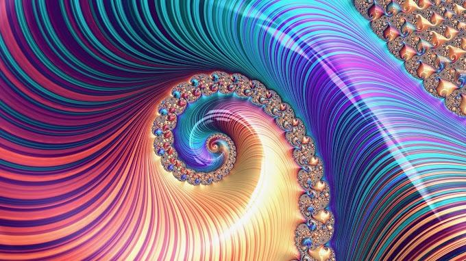 Papel de Parede Fractal Espiral Multi-colorido
