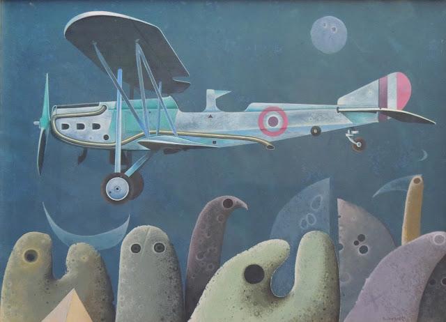 Rovira Brull pintura surrealista avión mar