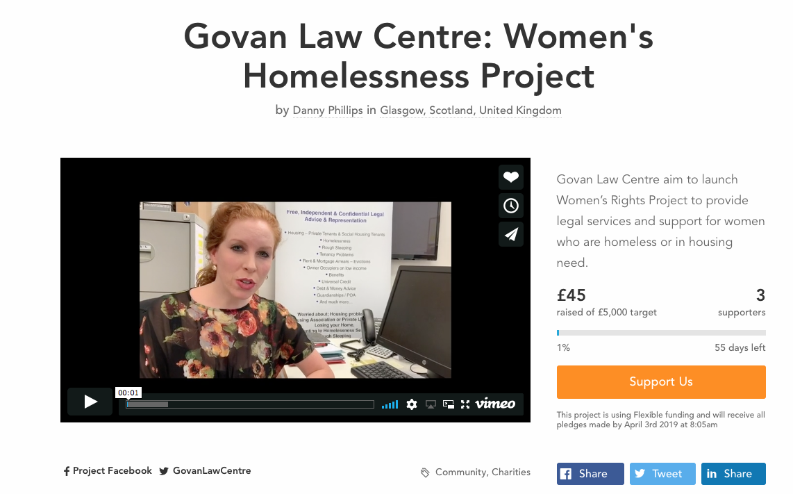 Please help us launch a Women's Homelessness Project for Scotland