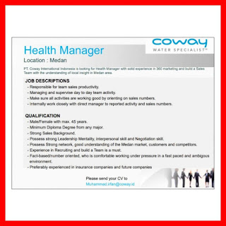 Manager di PT Coway International Indonesia