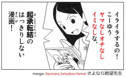 Phrase yama nashi ochi nashi imi nashi, the yaoi acronym, quoted from manga Sayonara Zetsubou-Sensei さよなら絶望先生