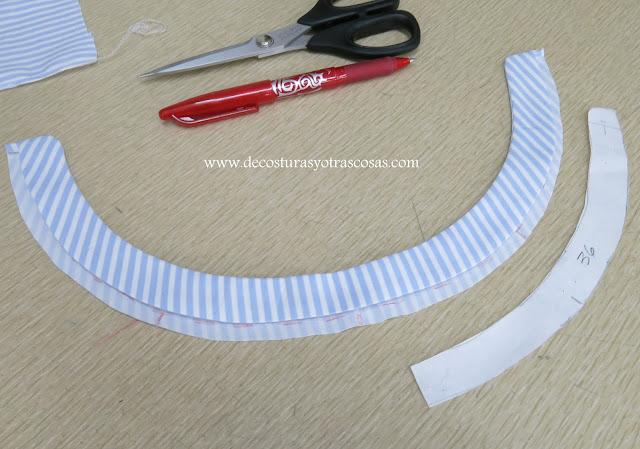 cuello de tira con forma redondeada