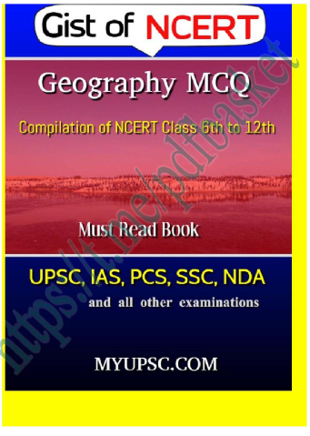 6 to 12th NCERT based Indian Geography MCQ : For UPSC Exam PDF Book