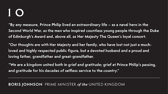 090421 Death of Prince Philip official statemen by Boris UK Prime Minister