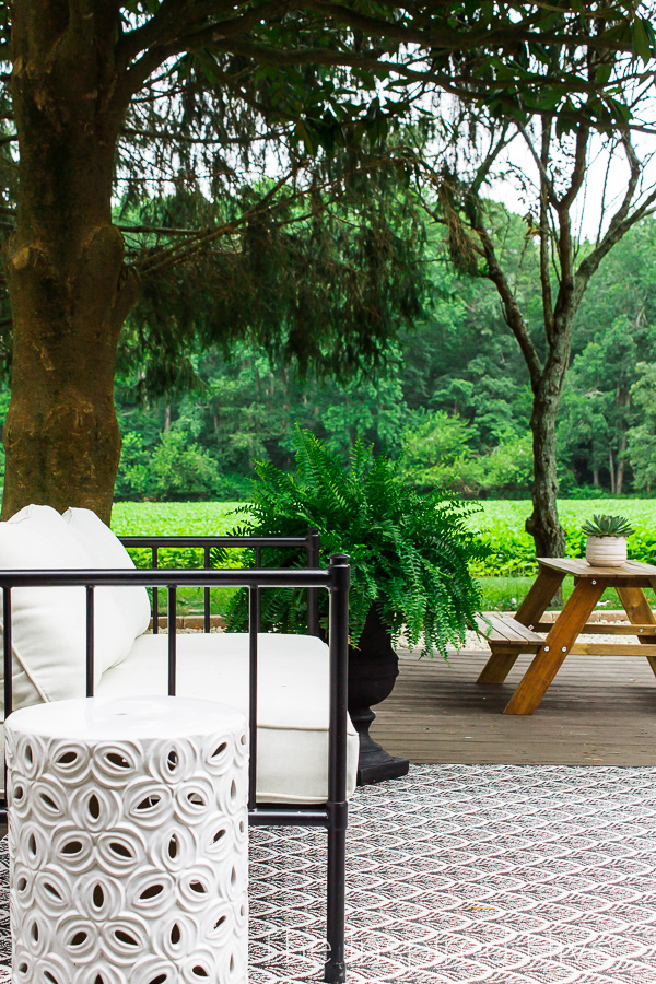 Outdoor sofa and kids picnic table
