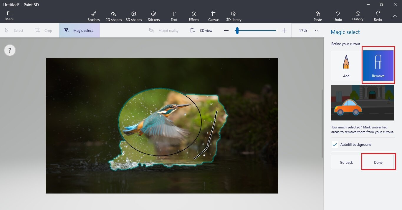 How to crop an image in circular shape in Paint 3D