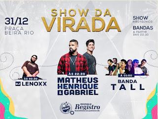 Prefeitura de Registro-SP divulga atrações do show da Virada e anuncia Queima de fogos de baixo estampido