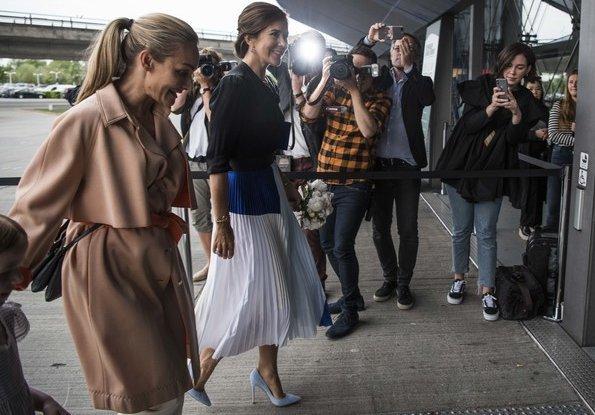 Crown Princess Mary wore Gianvito Rossi Ric Blue Suede Pumps. Crown Princess Mary-wore Charlotte Eskildsen Designers Remix Pleated Midi Skirt