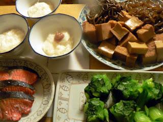 夕食の献立 献立レシピ 飽きない献立 塩鮭 山芋 煮物 おひたし