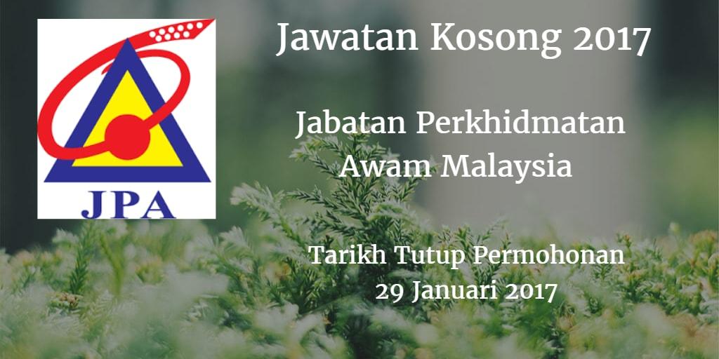 Jawatan Kosong JPA 29 Januari 2017