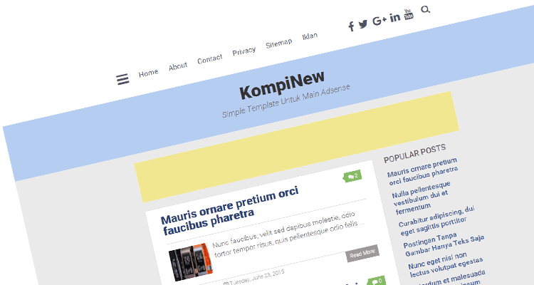 Kompi New, Simple Template Untuk Main Adsense