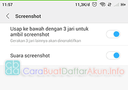 pengaturan screenshot 3 jari miui 8