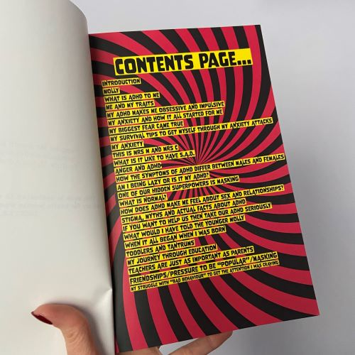 Contents page for the book - red and black stripes with black text in yellow highlighted boxes