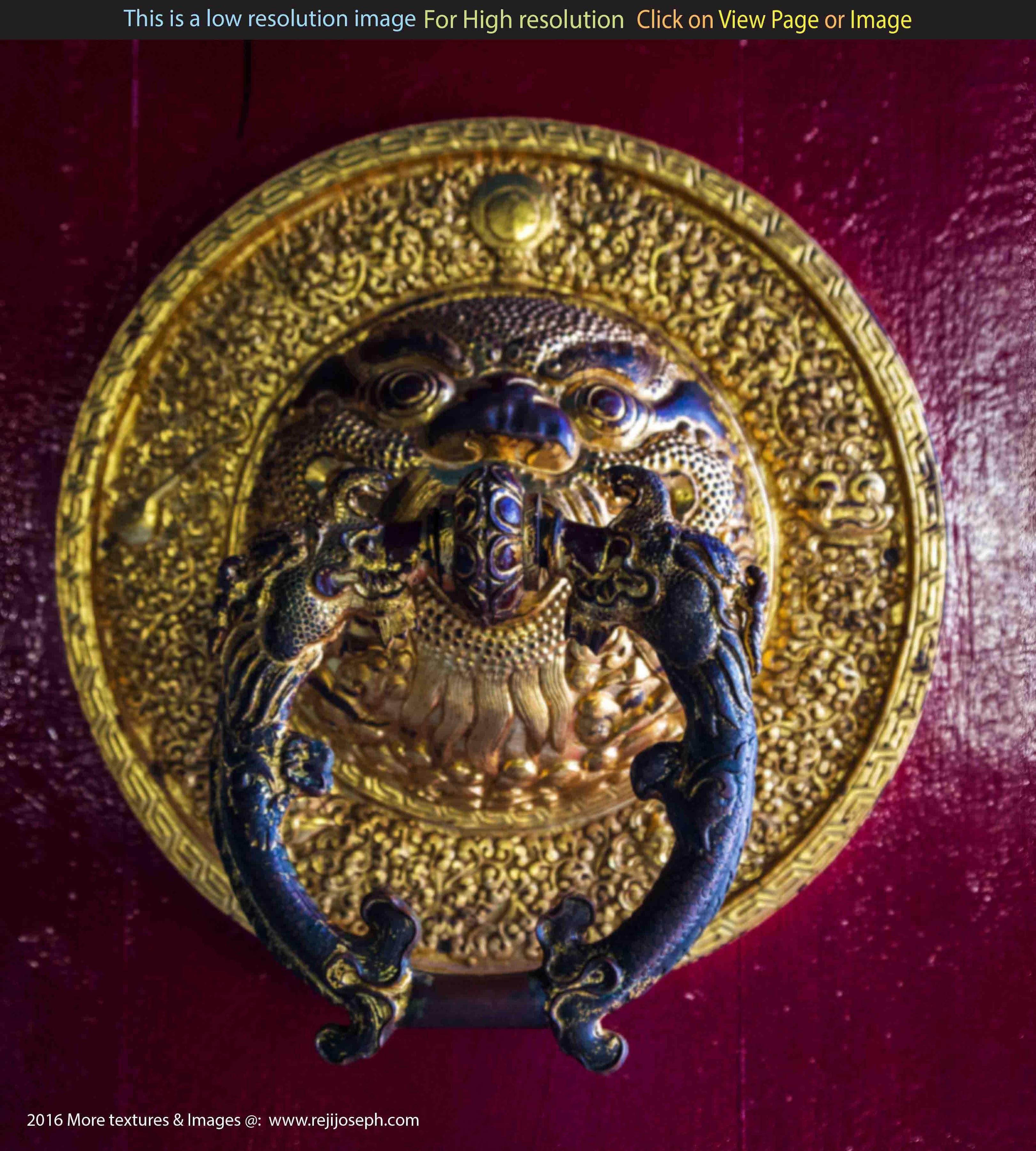 Buddhist temple brass door handle 001