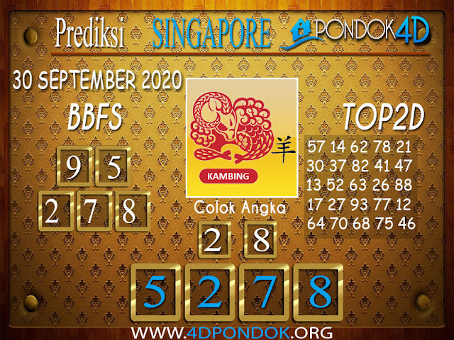 Prediksi Togel SINGAPORE PONDOK4D 30 SEPTEMBER 2020
