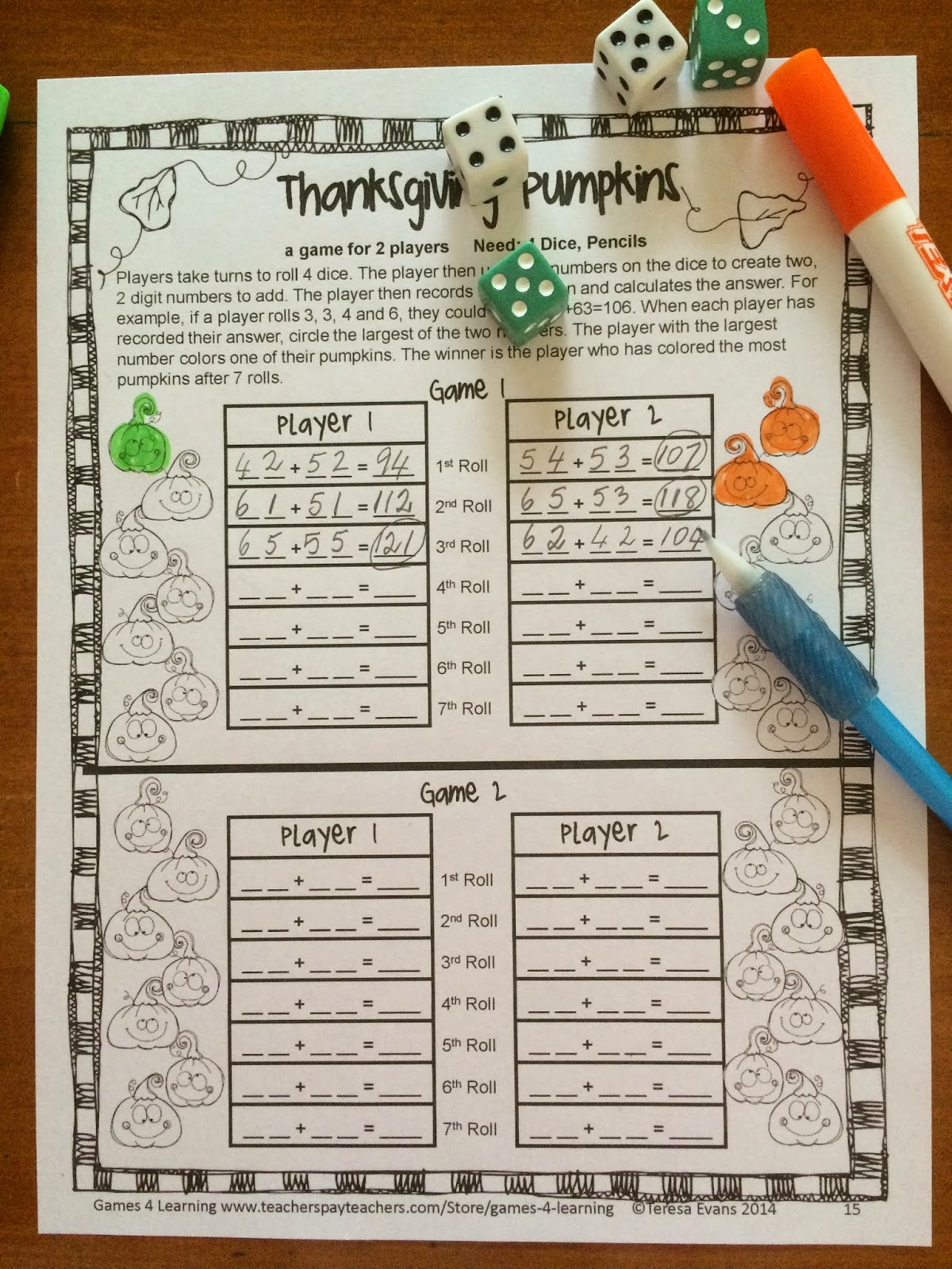 Fun Games 4 Learning Thanksgiving Math Games