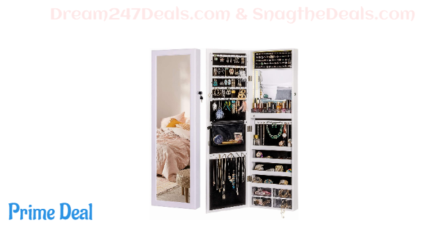 $31 Off LUXFURNI Mirror Jewelry Cabinet 79 LED Lights Wall