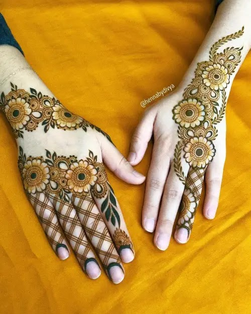 Small-Flowers-with-net-mehndi-design