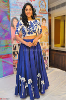Regina Casandra in Stunning White Embroidery Crop Top Choli and Blue Ghagra at Santosham awards 2017 curtain raiser press meet 02.08.2017 046.JPG