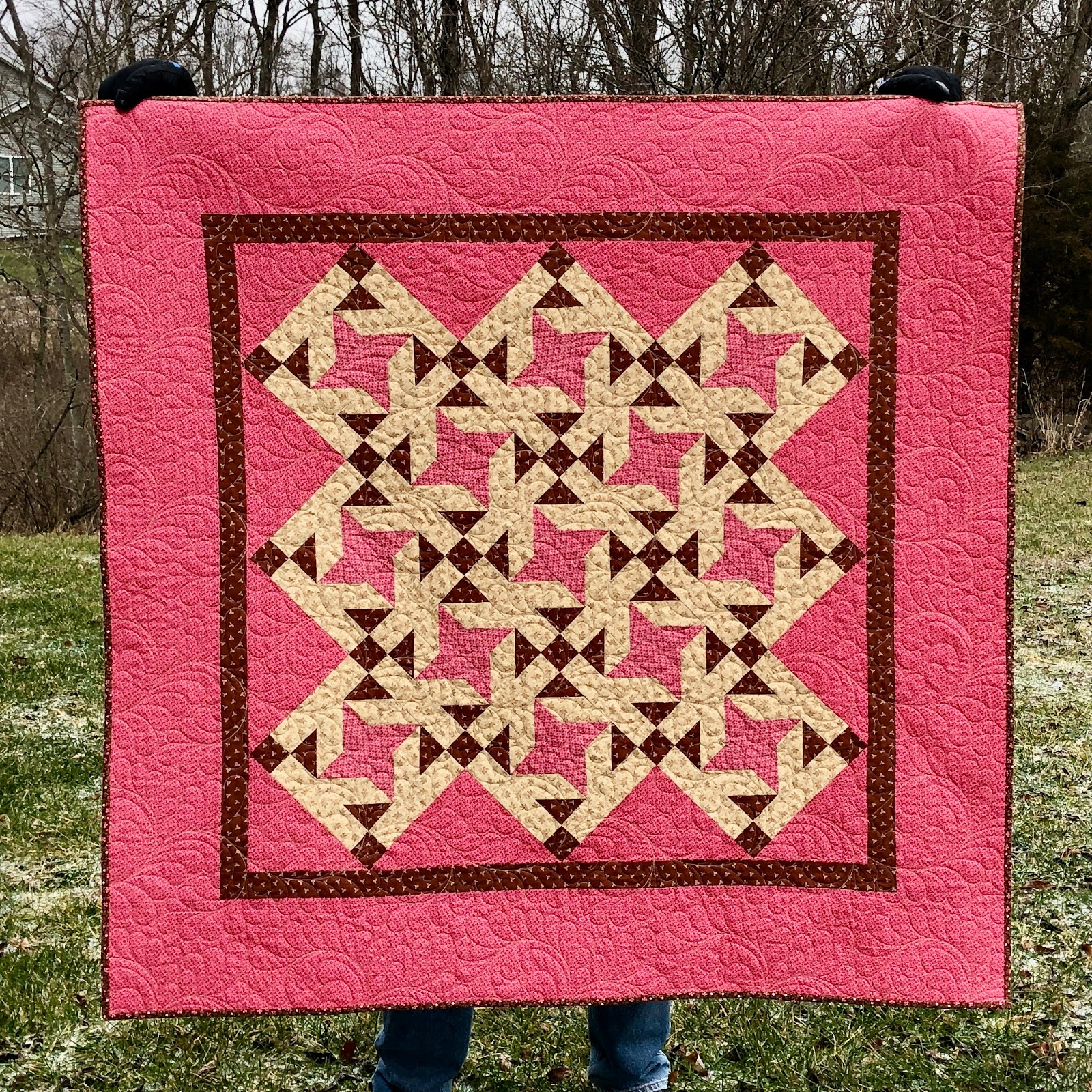 picture of pink and brown Civil War style quilt