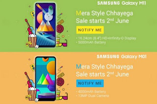 Samsung Galaxy M11 and Galaxy M01 price and specification