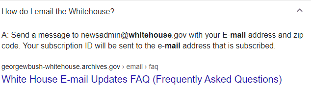 email id of the news admin of White House, US.