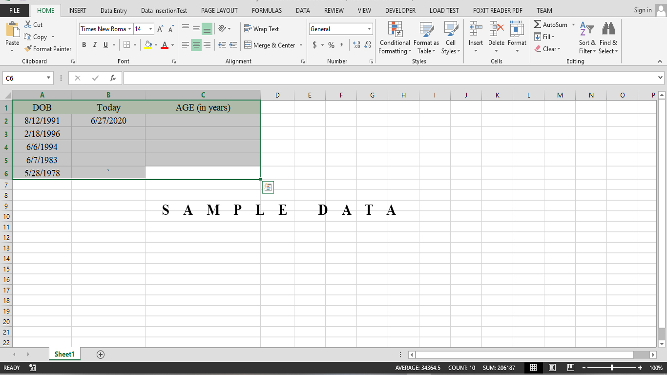 How simply Age can be calculated in Excel
