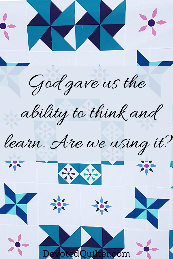 God gave us the ability to think and learn. Are we using it? | DevotedQuilter.com