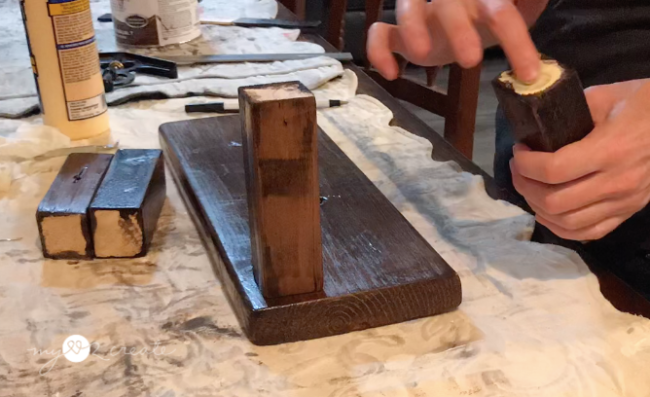 gluing legs on small serving tables