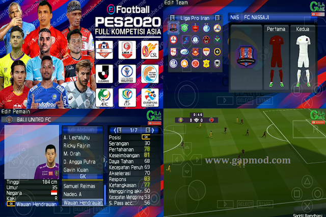 Download PES 2020 PPSSPP by Gila Game Mod Asia & Shopee Liga 1 Indonesia Update