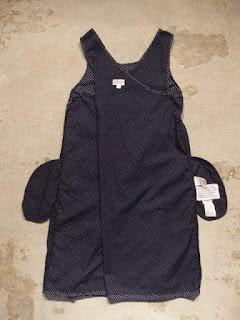 FWK by Engineered Garments Sun Dress in Navy Printed Polka Dot