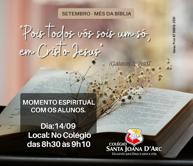 Colégio Santa Joana D'Arc emociona e ensina no mês da Bíblia.