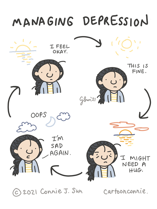 Sketchbook comic about the cyclical nature of managing mental health, illustration by Connie Sun, cartoonconnie
