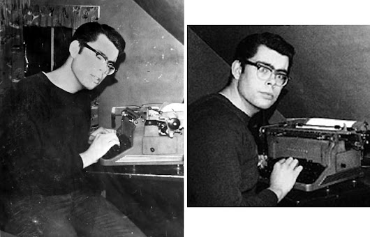 Young stephen king with your typewriter -