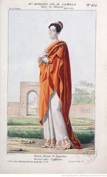 Les Horaces, opéra seria de Guillard et Salieri :  costume de Madame Morandi (Camilla)  Martinet (Paris), 1812.