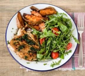 Chicken With Oregano-Orange Chimichurri & Arugula Salad