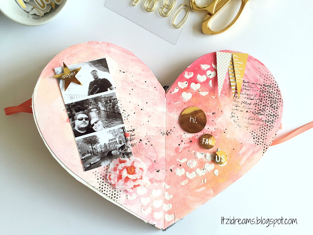 DIY mini album san valentin, Heidi Swapp, Mini Minc, Mini Album, scrap, scrapbooking, scrapbook. Watercolor, Mix Media.