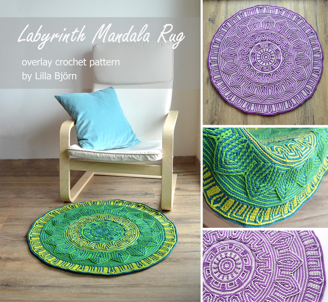 Labyrinth Mandala Rug - original overlay crochet pattern by Lilla Bjorn