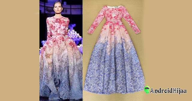 Dress berbahan jaguard kombinasi
