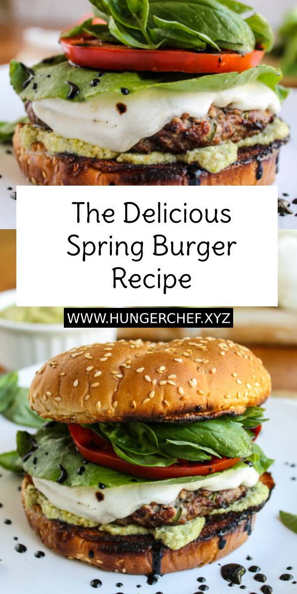 The Delicious Spring Burger Recipe - This delicious caprese salad style burger is packed with fresh mozzarella, basil, and tomato. A balsamic glaze and pesto sauce kick things up. It's like an awesome mashup of 2 iconic spring meals. #delicious #spring #burger #burgerrecipe #bestburger #hamburger #salad #caprese #mozzarella #springmeals #meals #dinner #dinnerrecipe #easydinnerrecipe #maindish #dish #bestdinnerrecipe