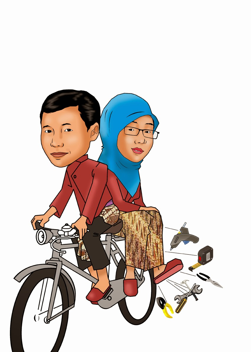 Gambar Kartun Orang Naik Vespa