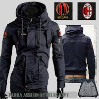 Jual Jaket Bola Parka Assasin AC Milan Logo Lepas Pasang