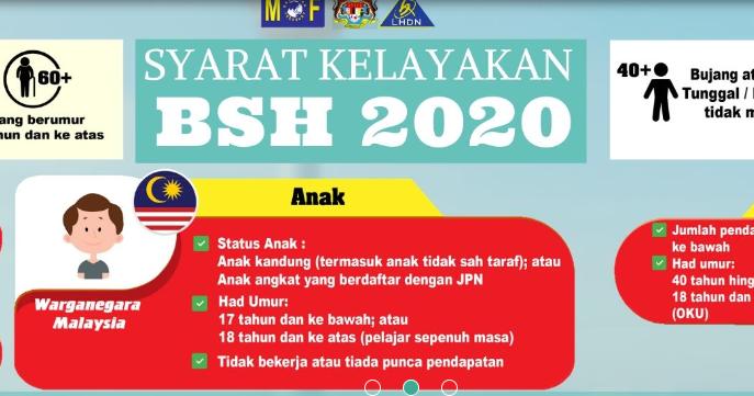 Tarikh Pendaftaran Permohonan Kemas Kini Bsh 2020