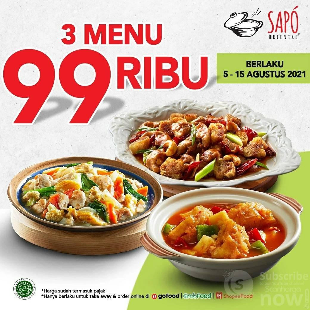 Promo SAPO ORIENTAL Harga Spesial 3 MENU cuma Rp. 99.000
