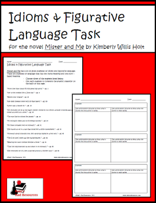 Free download - idiom and figurative language task for the novel Mister and Me - from Raki's Rad Resources.