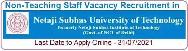 NSUT Non-Teaching Vacancy Recruitment 2021