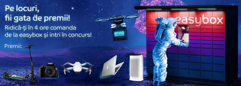 Concurs eMag - Pe locuri, fii gata de premii prin tragere la sorti cu easybox - 1 drona DJI Mavic Mini, 1 laptop Apple MacBook Air 13, 1 aparat foto DSLR Canon 800D, 1 trotineta electrica FreeWheel Rider Kool sau 1 purificator de aer Samsung - castiga.net
